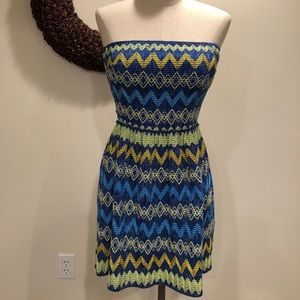 Strapless multi-color dress